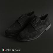 Pantofi siret Madrid 606_CAMOSCIO Negru