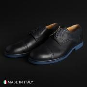 Pantofi siret Duca Di Morrone 607_PELLE Albastru