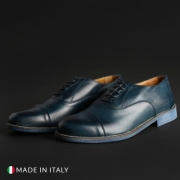 Pantofi siret Duca Di Morrone 1003_CRUST Albastru