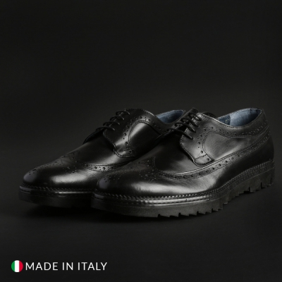 Pantofi siret Italian Eagle 300_VITELLO Negru