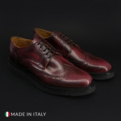 Pantofi siret Duca Di Morrone 208_ABRASIVATO Rosu