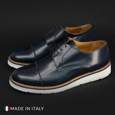 Pantofi siret Duca Di Morrone 210_ABRASIVATO Albastru