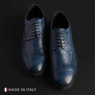 Pantofi siret Duca Di Morrone 2140_PELLE Albastru