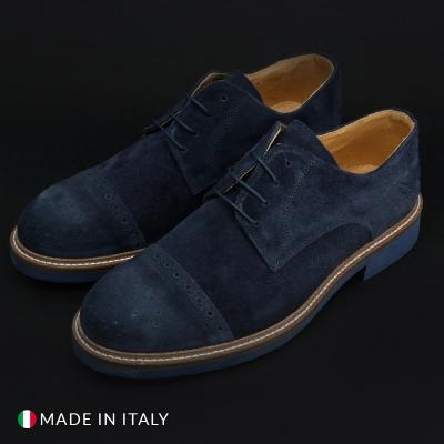Pantofi siret Duca Di Morrone 322_CAMOSCIO Albastru