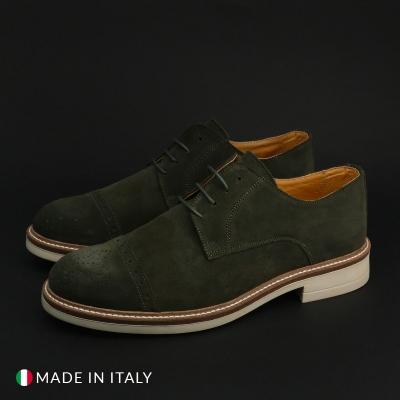 Pantofi siret Duca Di Morrone 322_CAMOSCIO Verde