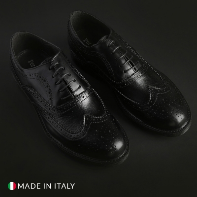 Pantofi siret Duca Di Morrone 4_VITELLO Negru