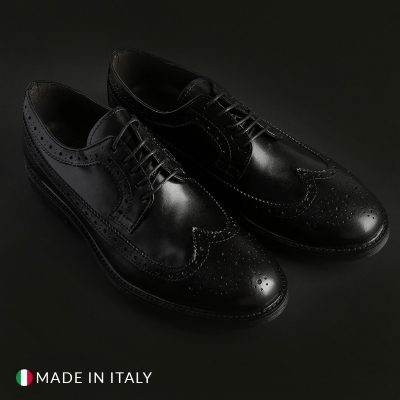 Pantofi siret Duca Di Morrone 6_VITELLO Negru