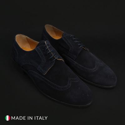 Pantofi siret Duca Di Morrone 606_CAMOSCIO Albastru