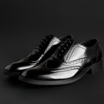 Pantofi siret Duca Di Morrone HOLDEN Negru