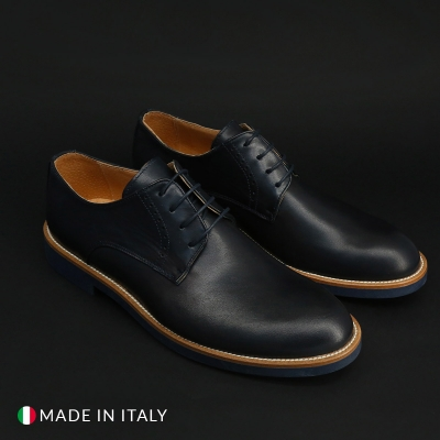 Pantofi siret Duca Di Morrone ST600_PELLE Albastru