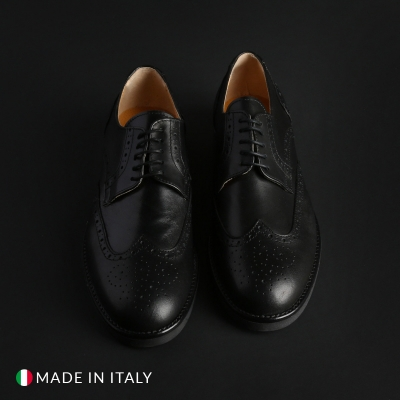 Pantofi siret Madrid 606_CRUST Negru