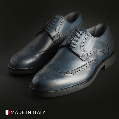 Pantofi siret Madrid 606_PELLE Albastru