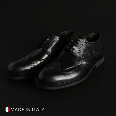 Pantofi siret Duca Di Morrone 1302D_ABRASIVATO Albastru