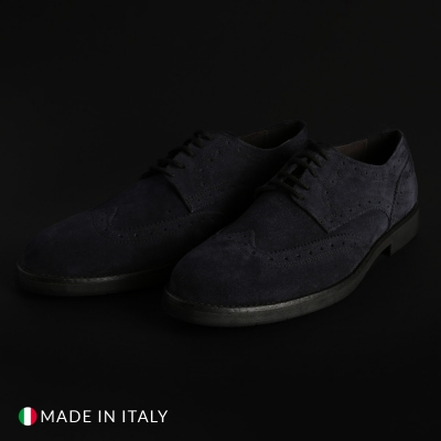 Pantofi siret Duca Di Morrone 1302D_CAMOSCIO Albastru