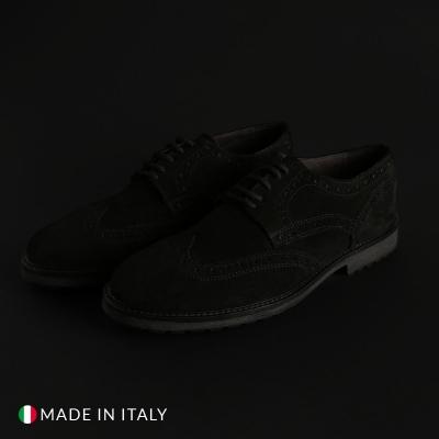 Pantofi siret Duca Di Morrone 1302D_CAMOSCIO Negru