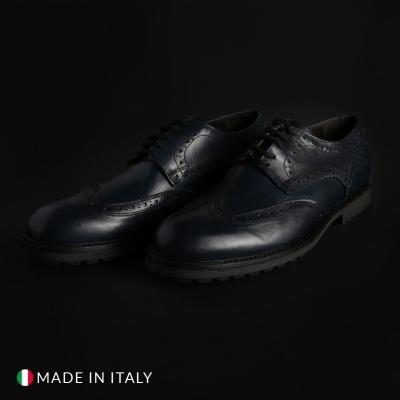 Pantofi siret Duca Di Morrone 1302D_PELLE Albastru