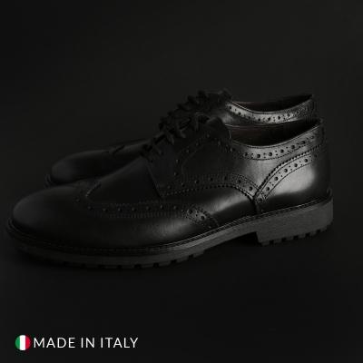 Pantofi siret Duca Di Morrone 1302D_PELLE Negru