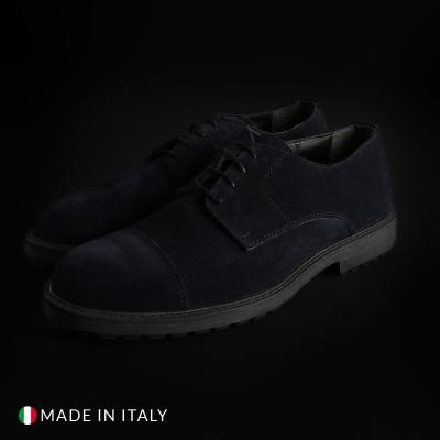 Pantofi siret Duca Di Morrone 900D_CAMOSCIO Albastru