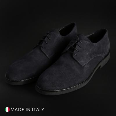 Pantofi siret Duca Di Morrone O58D_CAMOSCIO Albastru