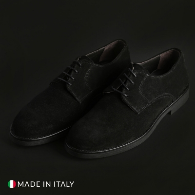 Pantofi siret Duca Di Morrone O58D_CAMOSCIO Negru
