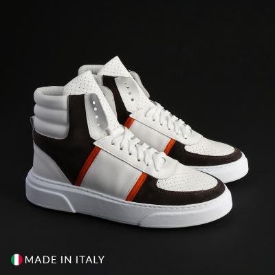 Pantofi sport Duca Di Morrone MIAMI-ALTO_PELLE Alb