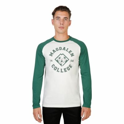 Tricouri Oxford University MAGDALEN-RAGLAN-ML Verde