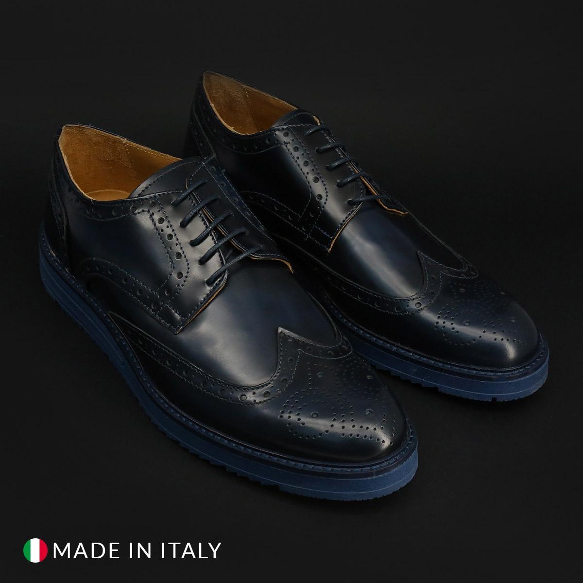Pantofi siret Duca Di Morrone 208_ABRASIVATO Albastru