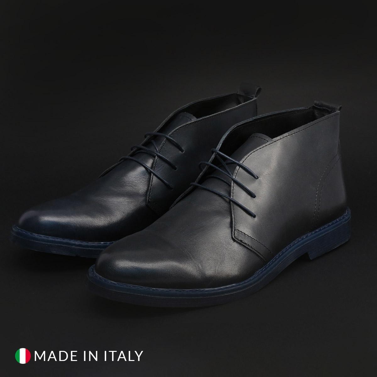 Pantofi siret Duca Di Morrone 433_PELLE Albastru