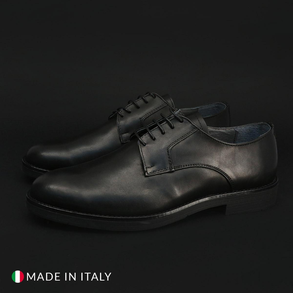 Pantofi siret Duca Di Morrone 604_PELLE Negru
