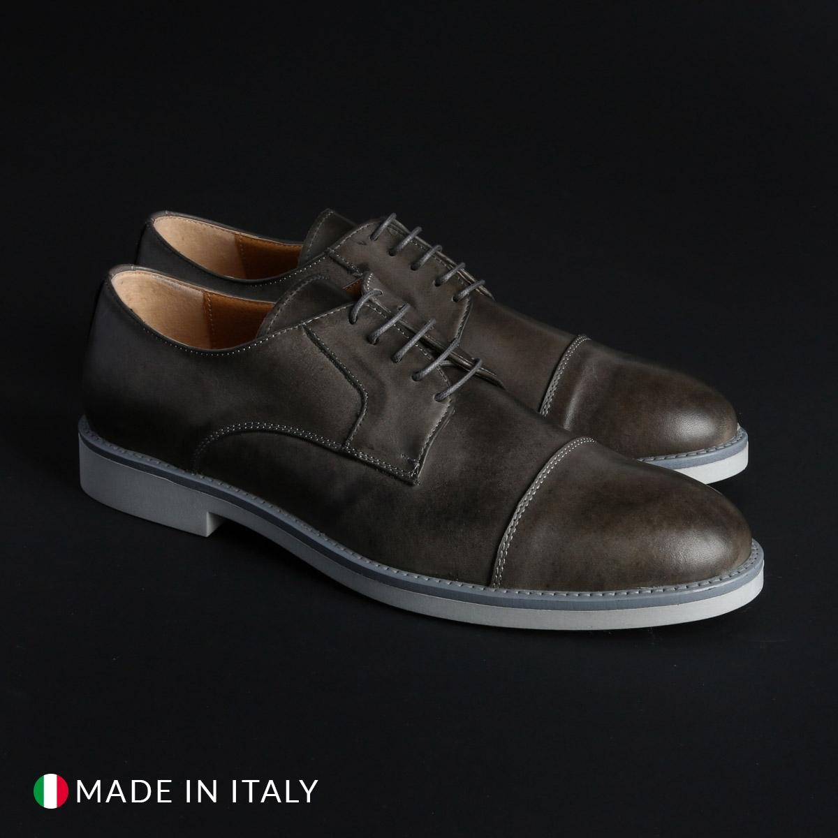 Pantofi siret Duca Di Morrone 605_PELLE Gri