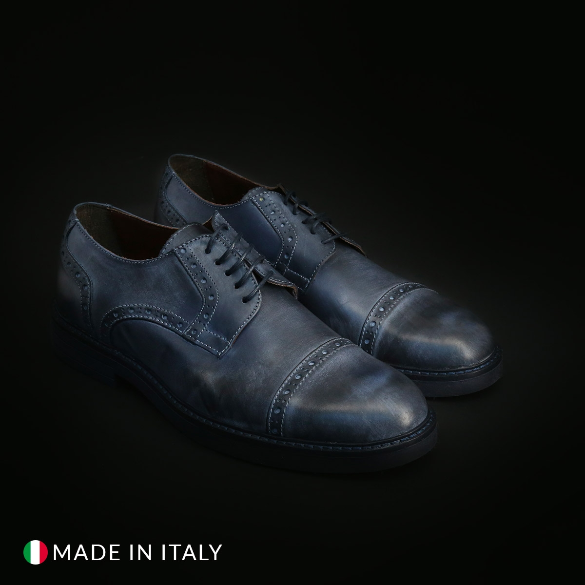Pantofi siret Duca Di Morrone CL607_PELLE Albastru