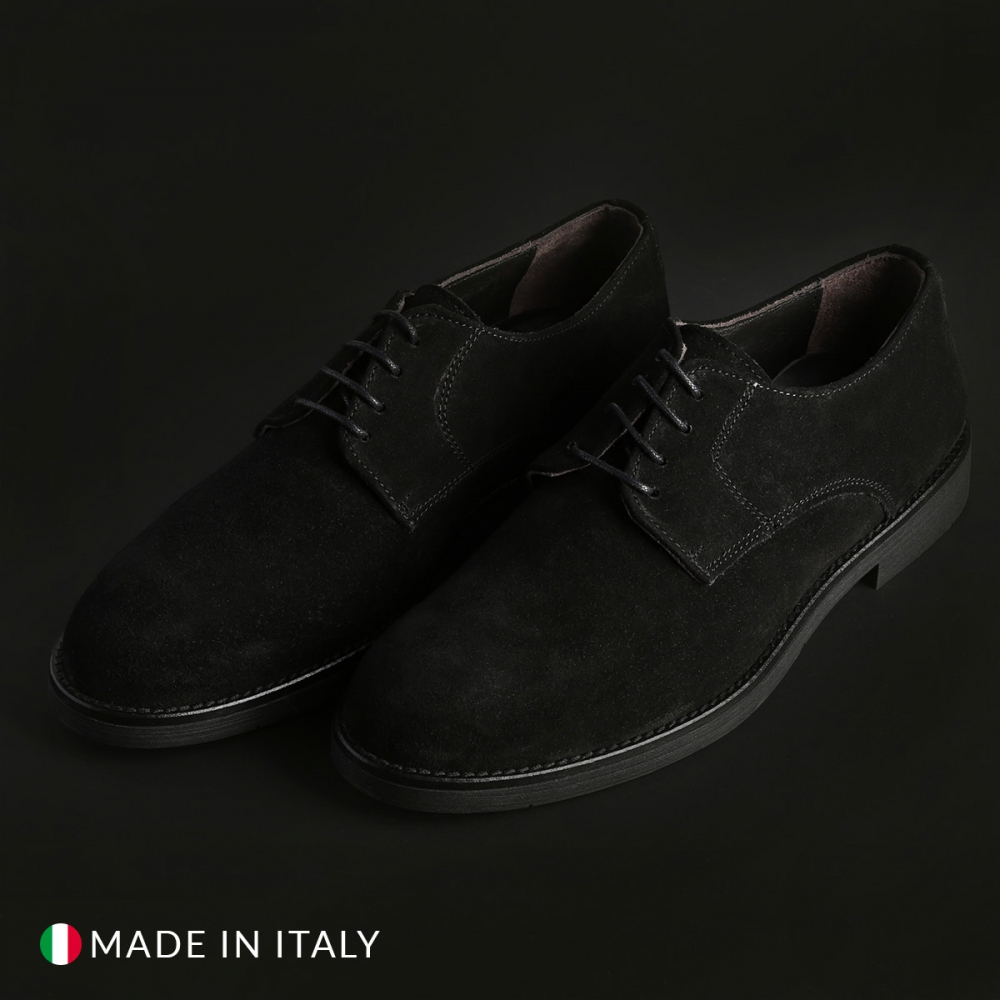 Pantofi siret Duca Di Morrone 058_CAMOSCIO Negru