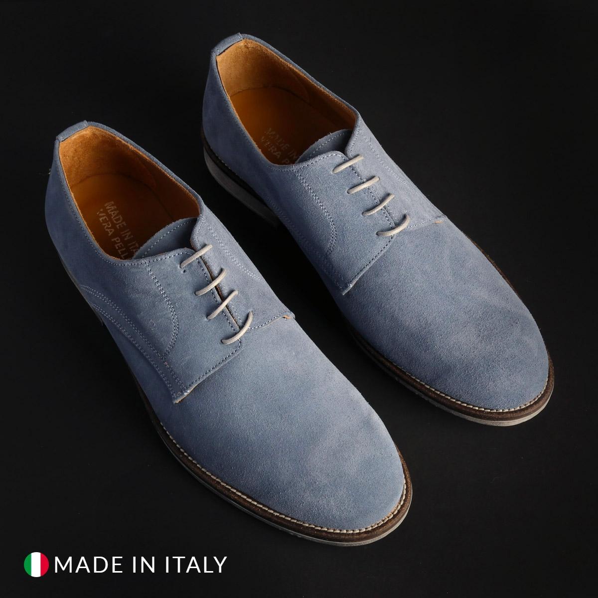 Pantofi siret Duca Di Morrone 06_CAMOSCIO Albastru