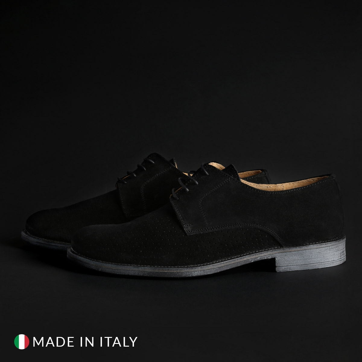 Pantofi siret Duca Di Morrone 06_CAMOSCIO Negru