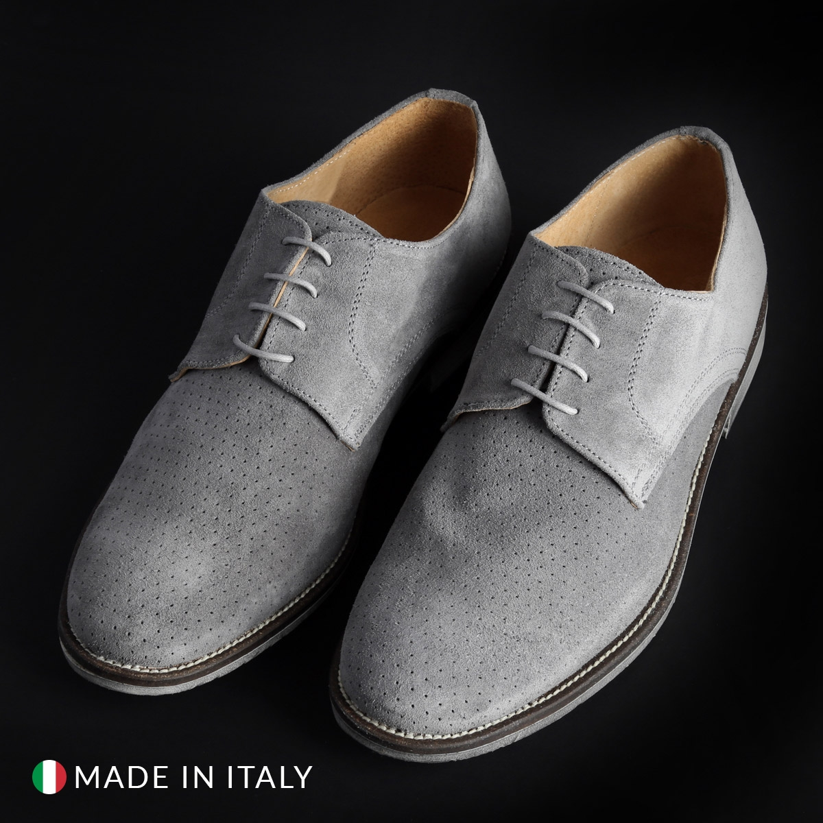 Pantofi siret Duca Di Morrone 06_CAMOSCIOBUCATO Gri