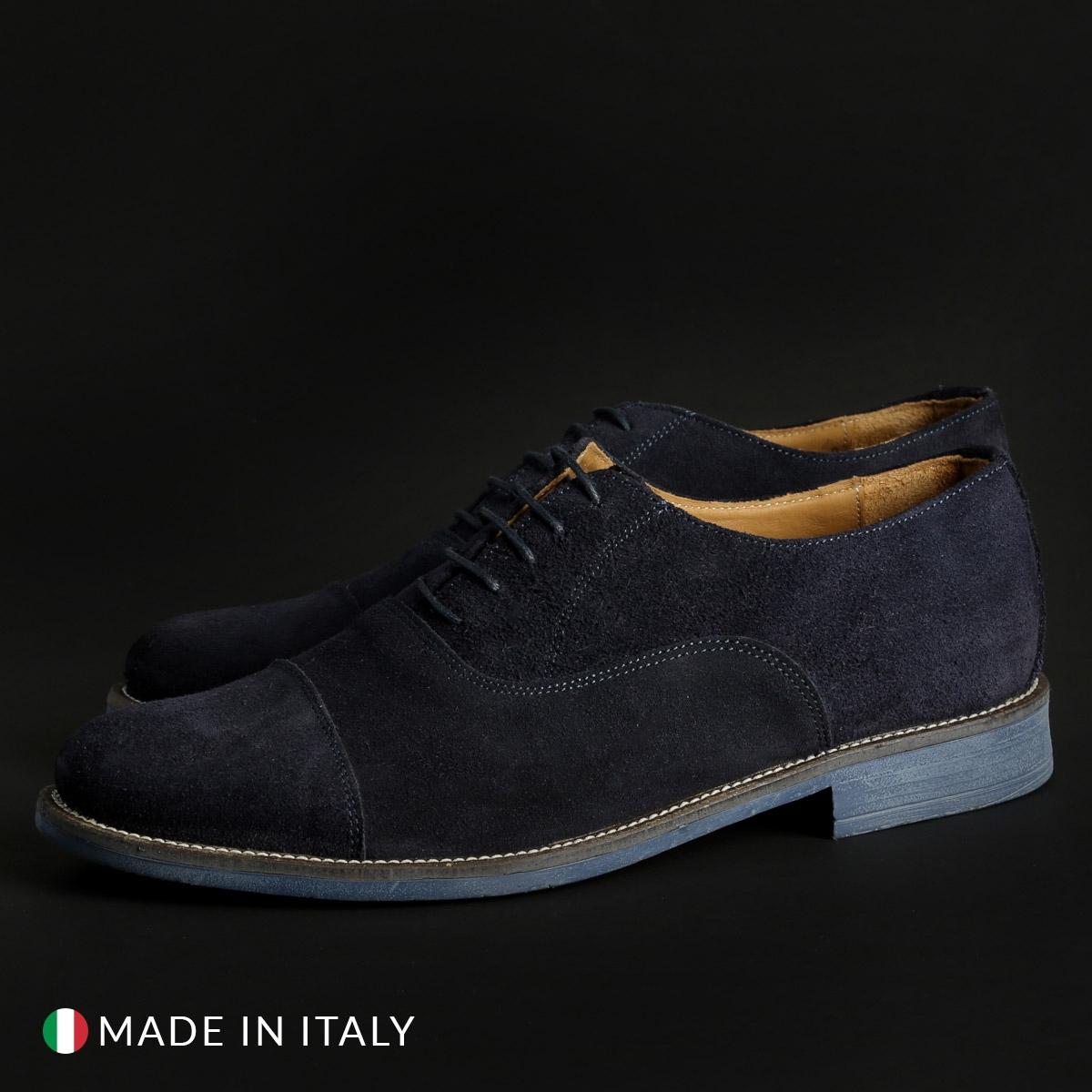 Pantofi siret Duca Di Morrone 1003_CAMOSCIO Albastru