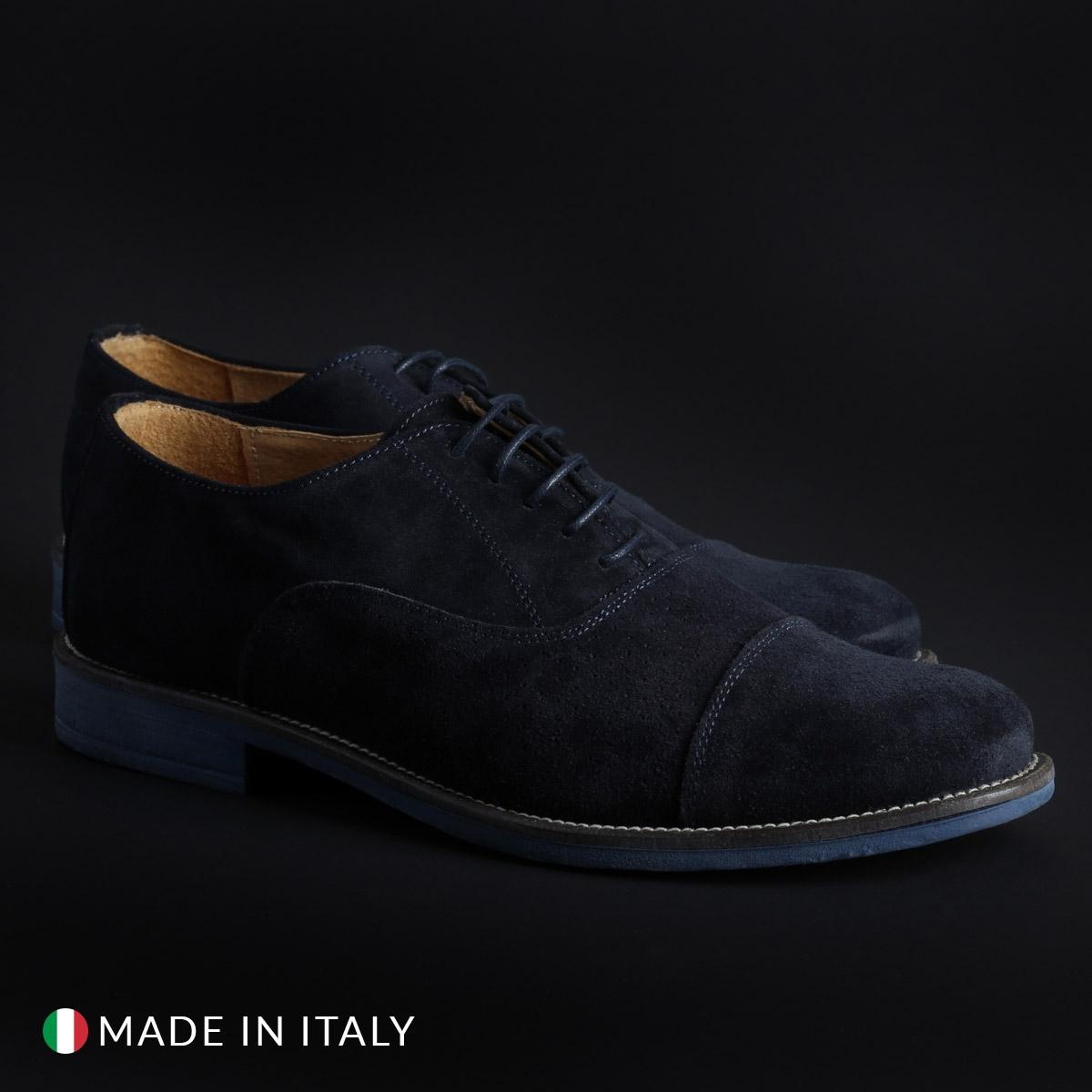 Pantofi siret Duca Di Morrone 1003_CAMOSCIOBUCATO Albastru
