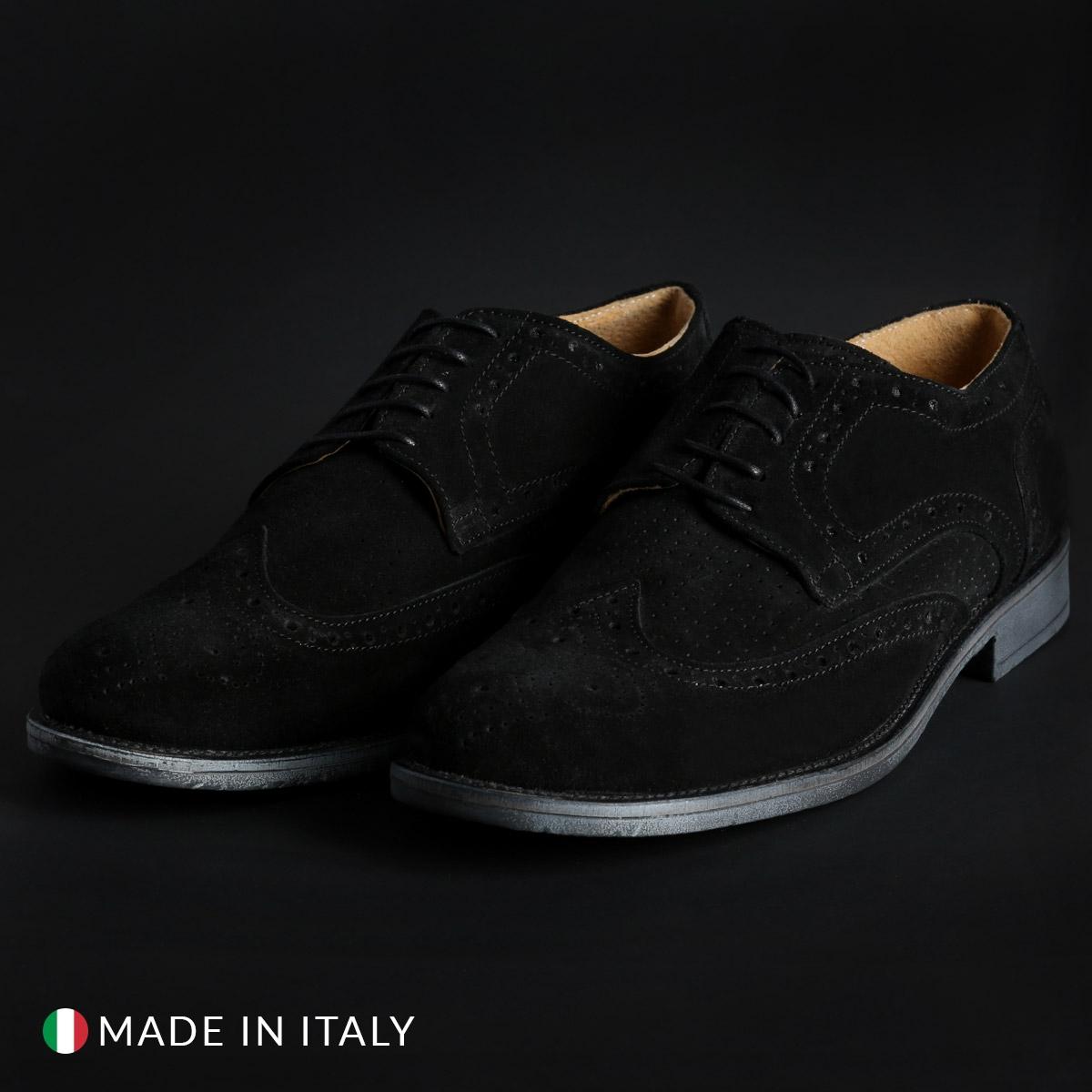 Pantofi siret Duca Di Morrone 208_CAMOSCIOBUCATO Negru