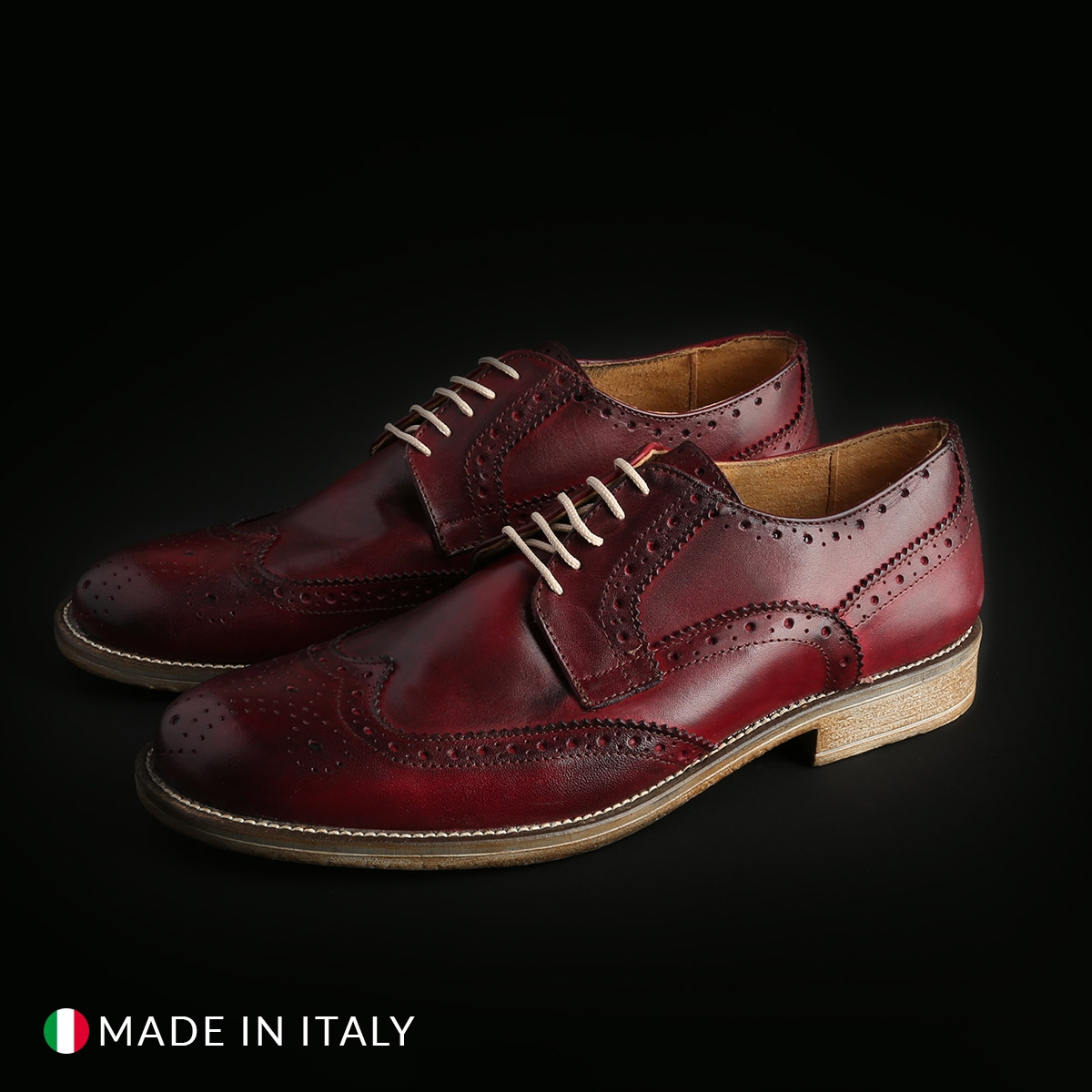 Pantofi siret Duca Di Morrone S2_CRUST Rosu